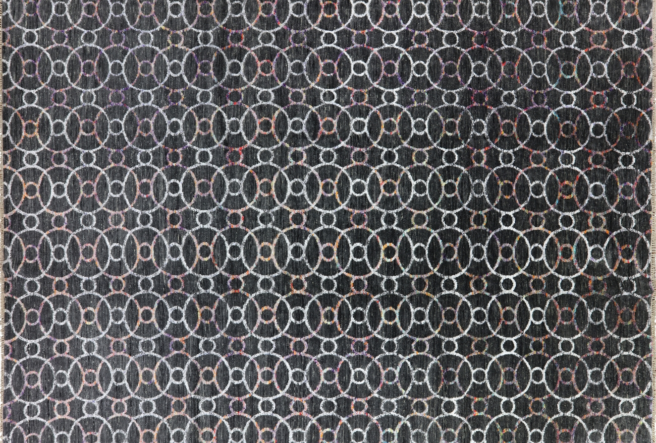 New Charcoal Black Geometric Rug 10x14 Hand Knotted