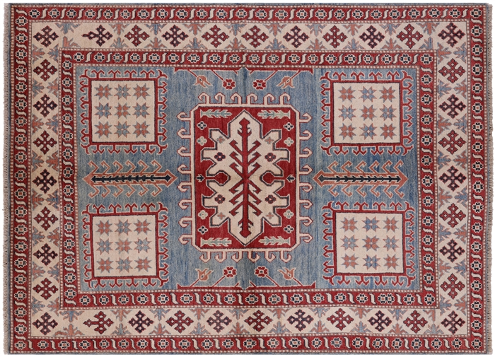 Cornflower Blue Persian Super Kazak 5 X7 Hand Knotted