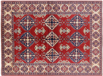 Super Kazak Scarlet Arts & Craft Pattern 5' X 7' Hand Knotted Oriental Rug H4075