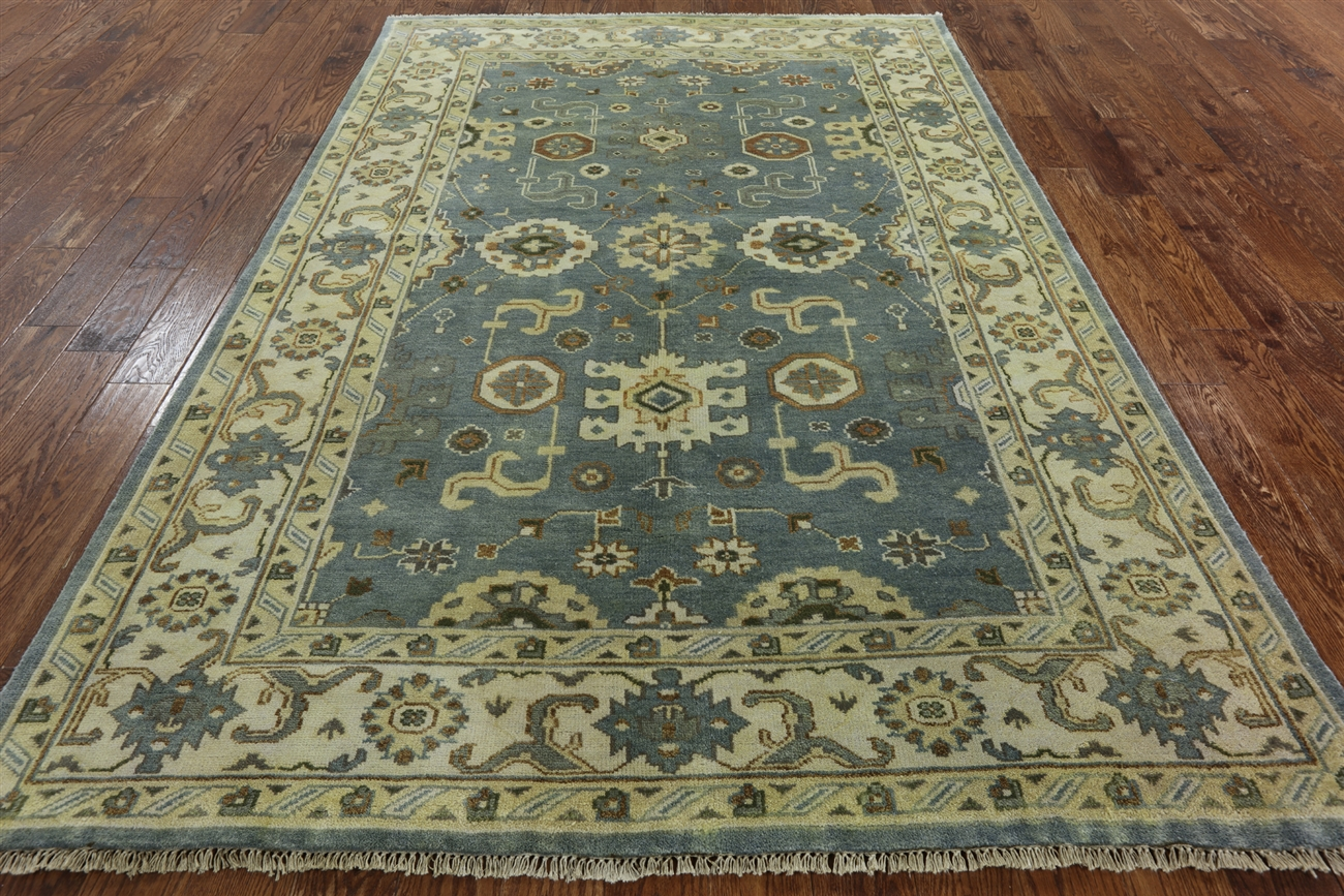 New Oushak Hand Knotted Wool 6x9 Turkish Floral Blue Ivory