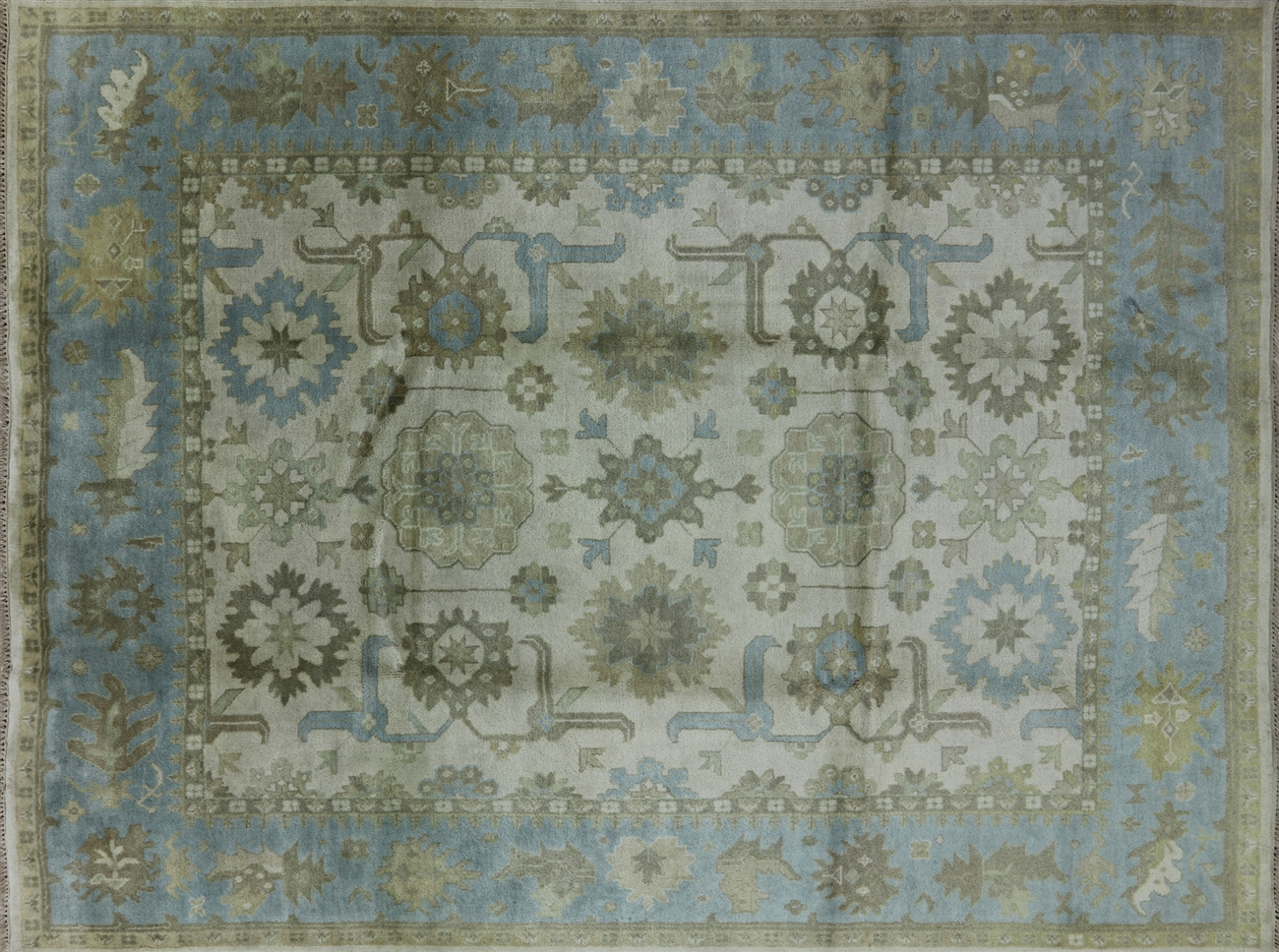 New 9u0027x12u0027 Ivory Baby Blue Border Oushak Hand Knotted Wool Area Rug H5481