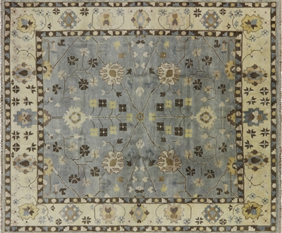 Blue Oushak Hand Knotted Area Rug