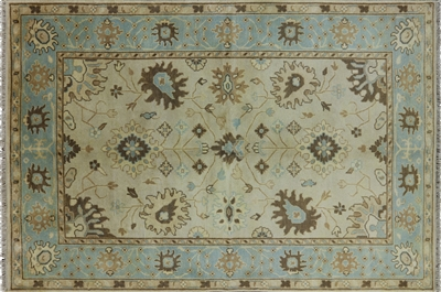 Oushak Hand Knotted Wool Ivory-Blue Oriental Area Rug