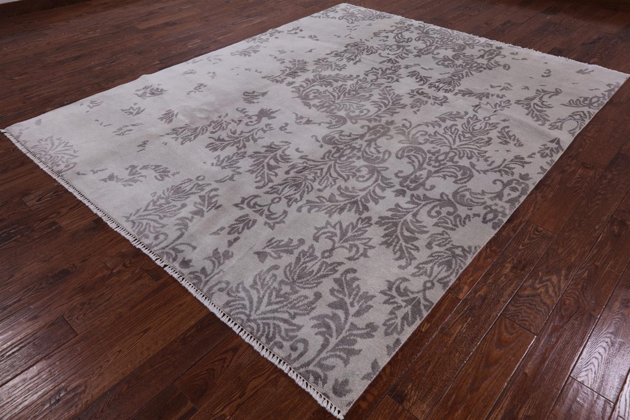 New Modern Broken Flower Design Off White 8u0027 X 10u0027 Hand Knotted Wool Rug  H5783