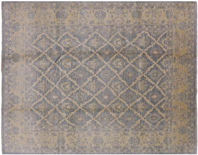 Washed Out Blue Peshawar Hand Knotted Oriental Rug
