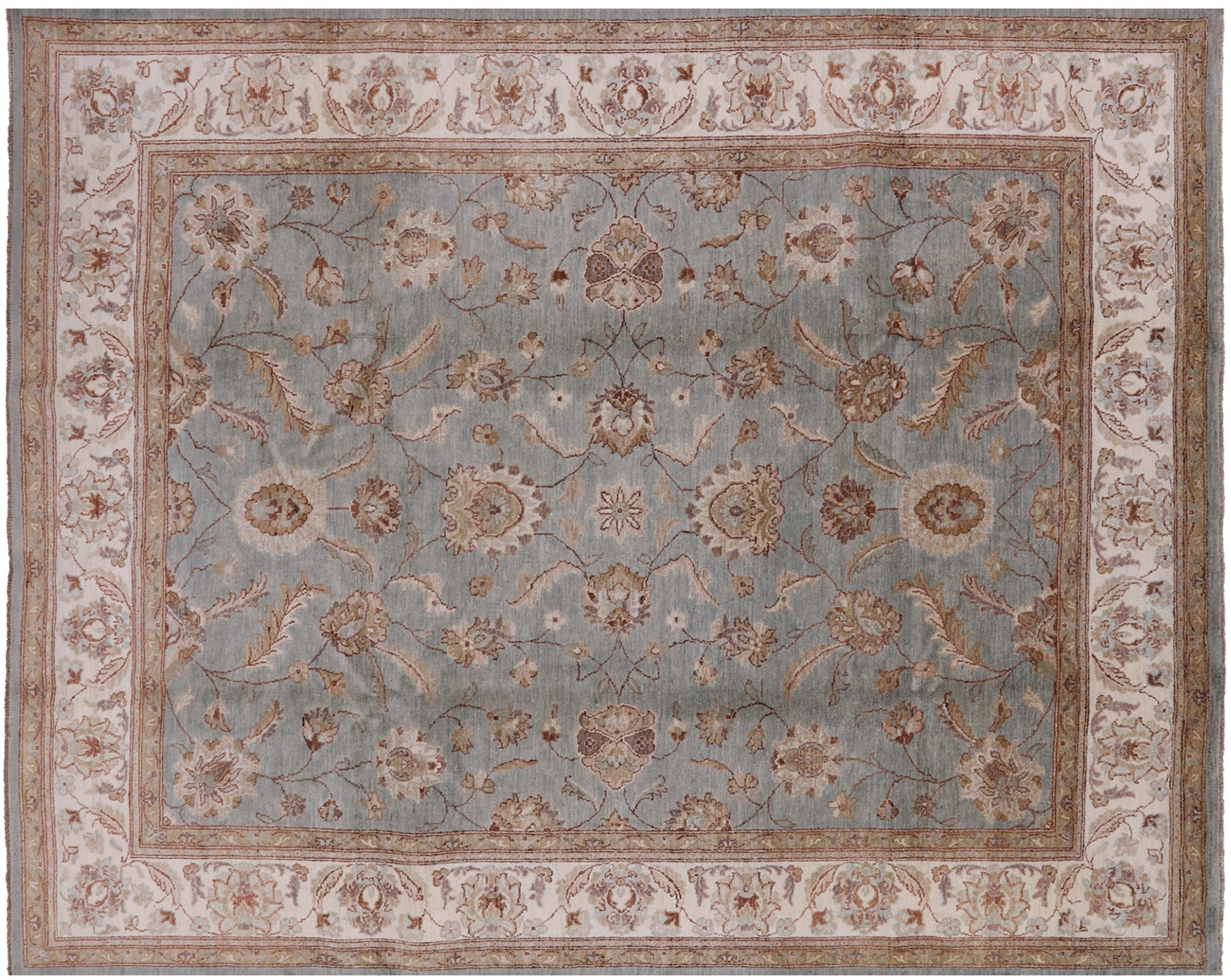 Genuine Super Pakistani Eton Blue Chobi 8 X10 Hand Knotted Wool
