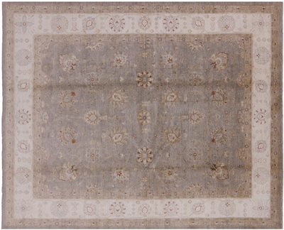 Veg Dyed Green Chobi Hand Knotted Floral Rug