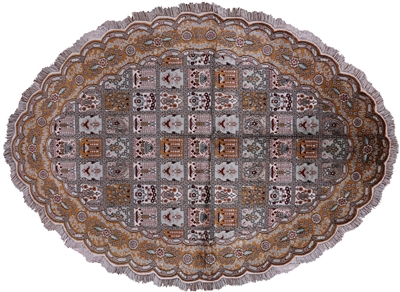 Oval Fine Kashan Hand Knotted Silk Rug