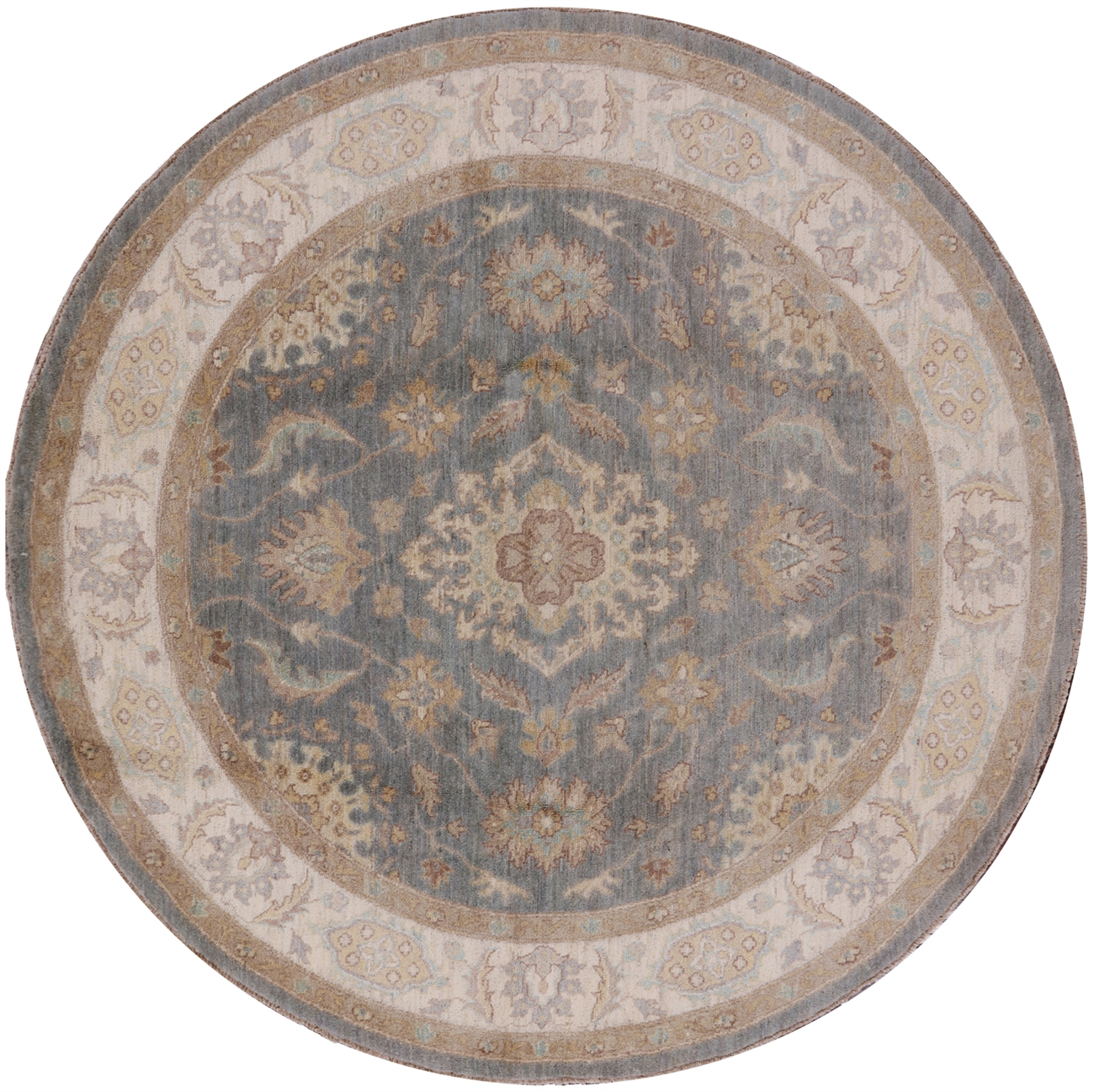 New Persian Hand Tufted Wool Oval Area Rug: New 6' Round Oriental Peshawar Blue Chobi Knotted By Hand