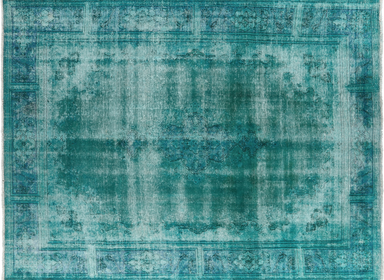 Best New Iran Persian Kerman Mint Green Overdyed 9' X 11' Hand Knotted  HU33