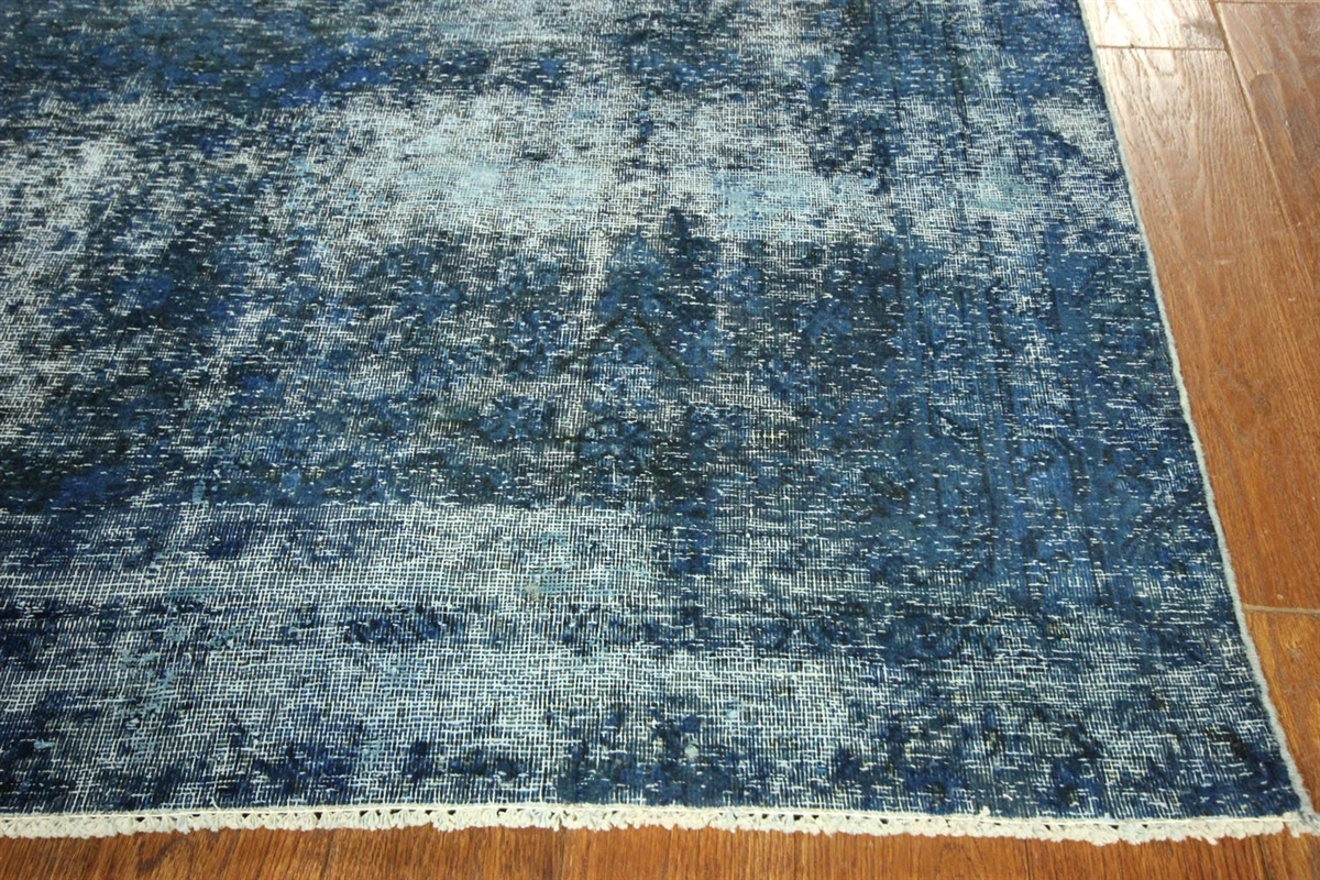 New Oriental Persian Overdyed Blue Tabriz 8x11 Hand Knotted Wool Area Rug H6127