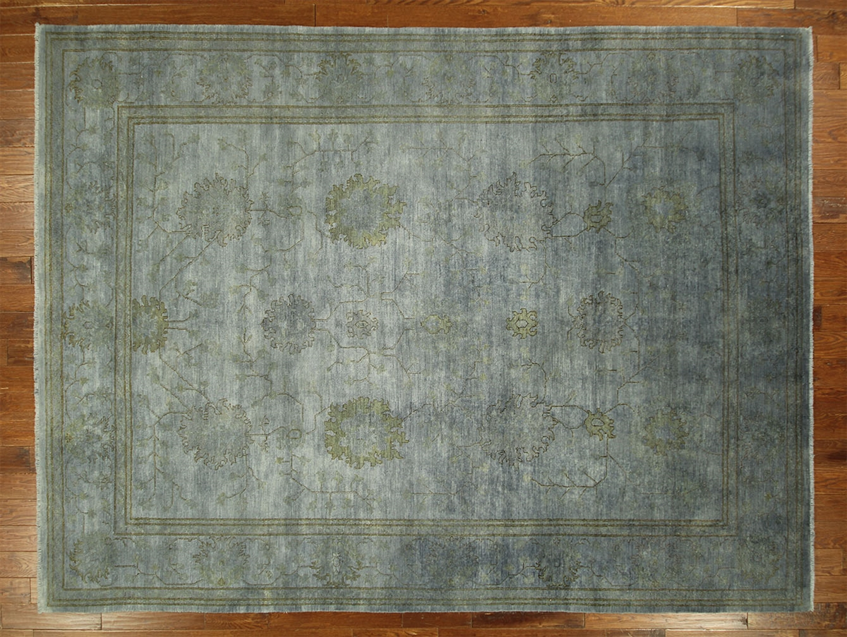 Overdyed Blue Chobi Hand Knotted Wool Rug