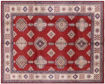 Red Kazak Rug Hand Knotted Wool
