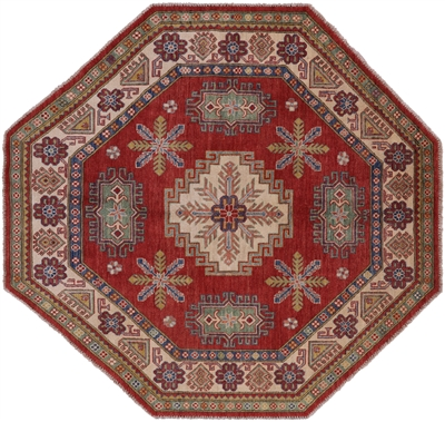 Octagon Kazak Hand Knotted Wool Rug