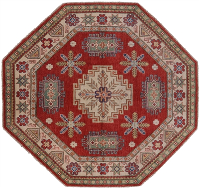 New Octagon Wool Hand Knotted  Super Kazak Rug