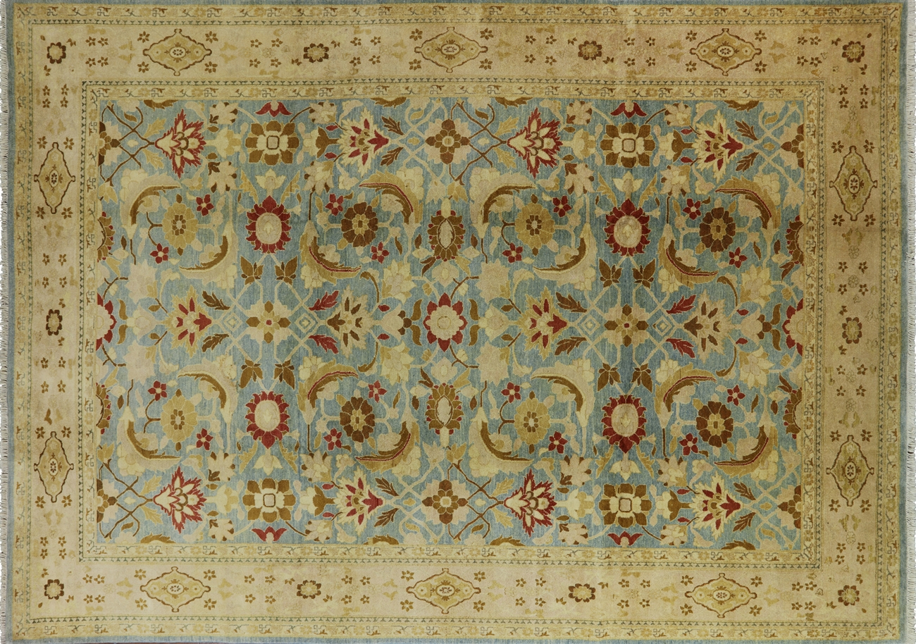 10 X 15 Hand Knotted Blue Peshawar Wool Area Rug H6251