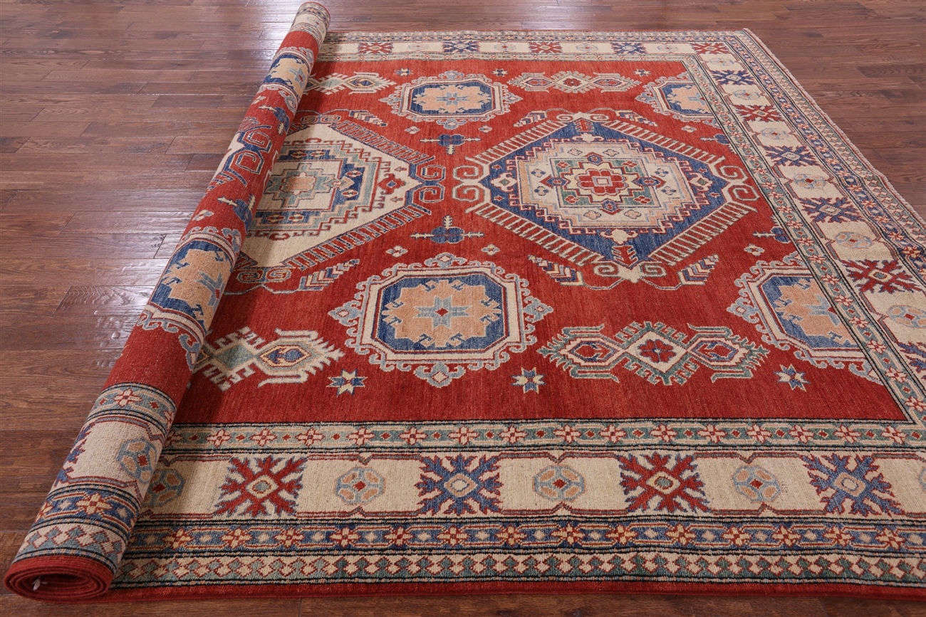 New Shirvan Collection Red Super Kazak 10u0027x14u0027 Hand Knotted Wool Area Rug  H6353