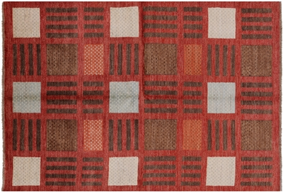 Orange Gabbeh Hand Knotted Rug