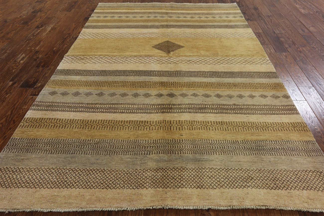 Hand Knotted 7x10 Striped Centeral Diamond Earth Tone