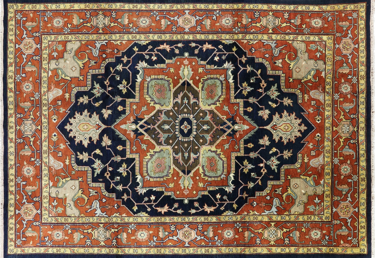 unique serapi collection hand knotted wool 9x12 rust heriz floral area rug h6612