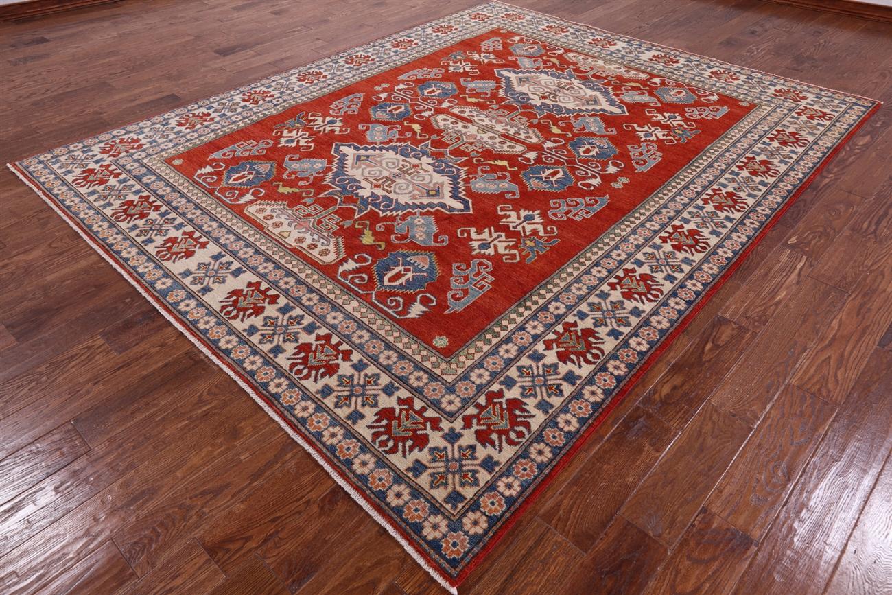 8 X10 Geometric Hand Knotted Pakistani Super Kazak Wool Oriental