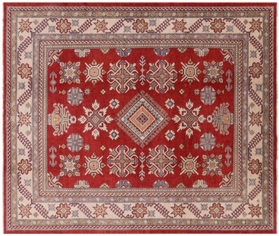Hand Knotted Wool Red Kazak Area Rug