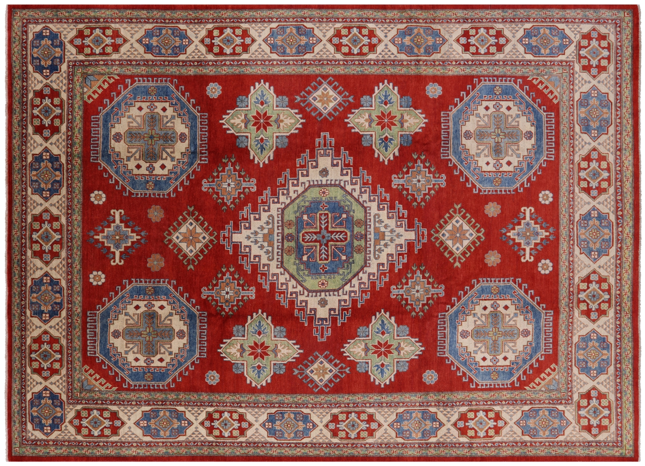 Hand Knotted 9 X12 Pakistani Red Kazak Hand Knotted Wool Area Rug H6883