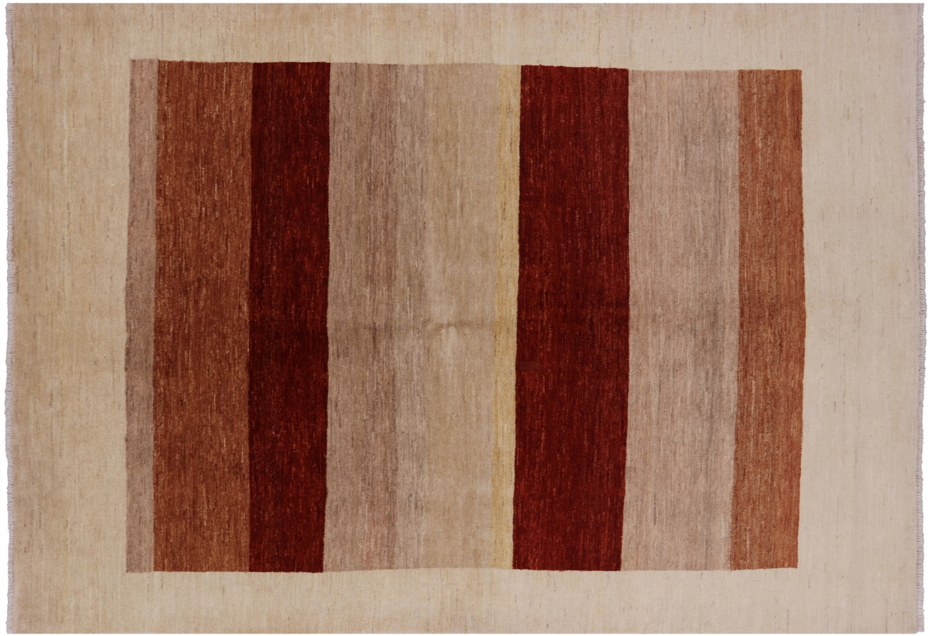 Earth Tone Super Fine Gabbeh High Kpsi 7 X10 Hand Knotted Wool Area Rug H6910