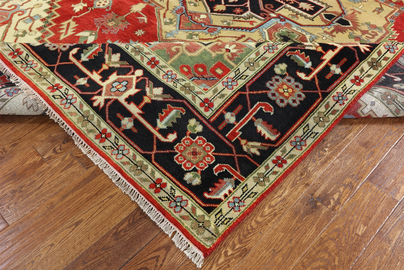 10x14 Heriz Serapi Red Black Border Geometric Hand Knotted Wool Area Rug