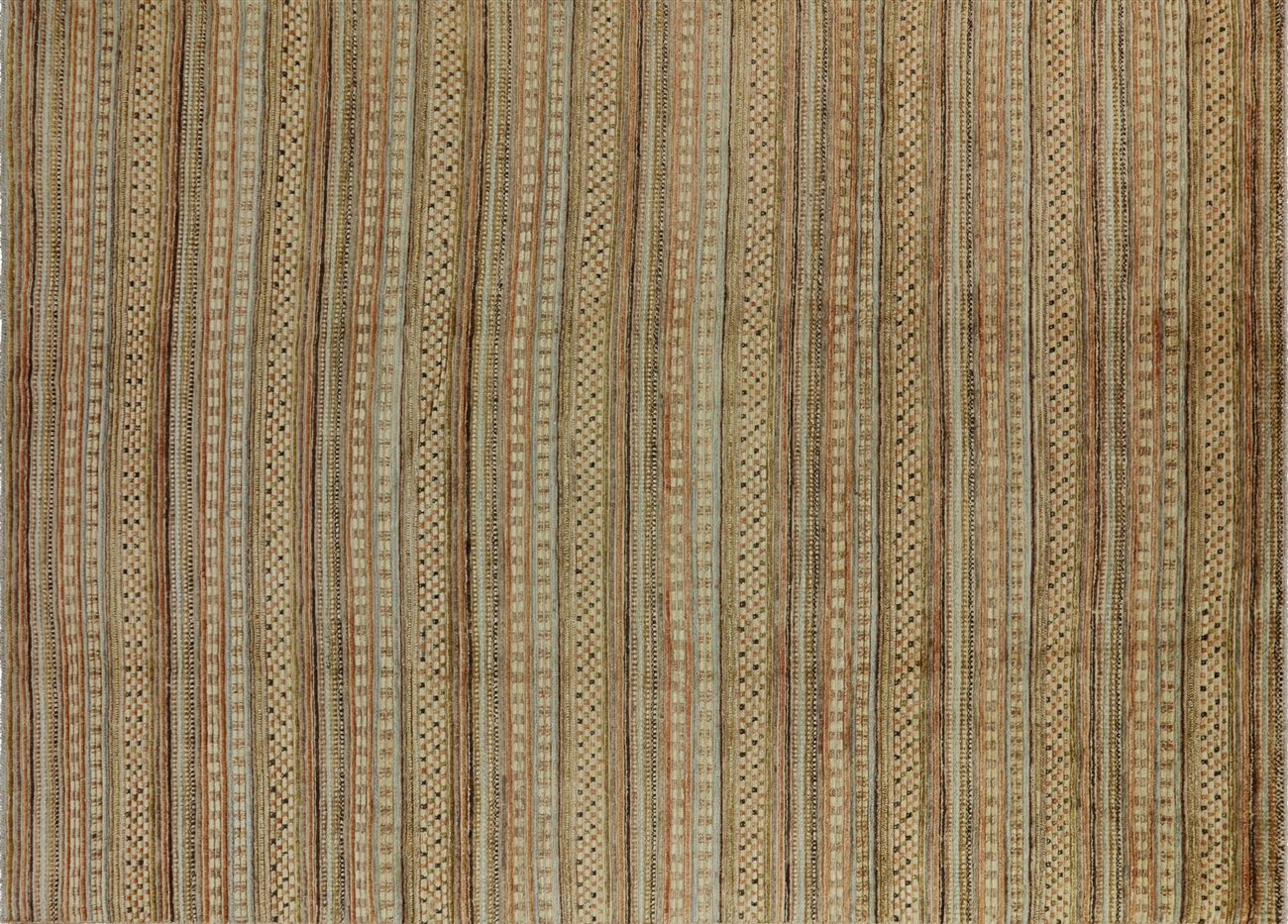 Unique Hand Knotted 9 X12 High Kpsi Earth Tone Gabbeh Wool Area Rug H7097