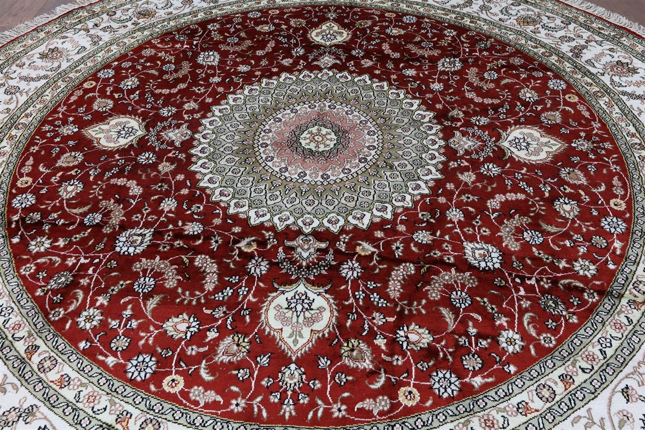 Elegant Red 9 Round Shah Abbasi Design Kashan Hand