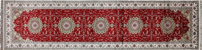 Runner Persian Kashan Hand Knotted Silk Rug