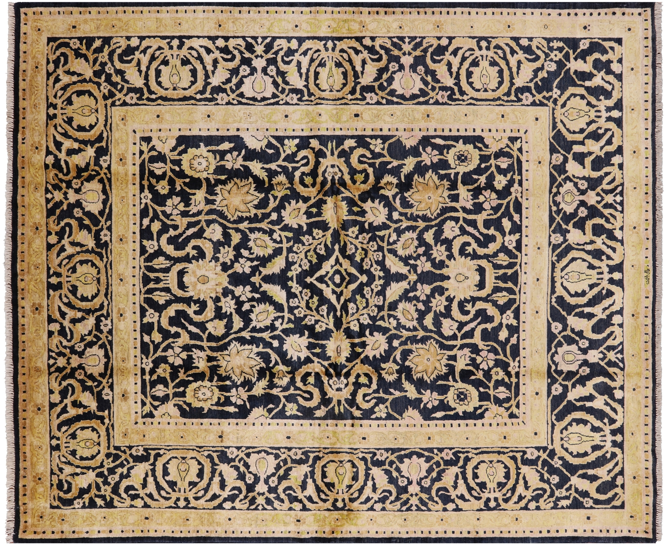 Signed Navy Blue Gold Hand Knotted Peshawar Wool Area Rug