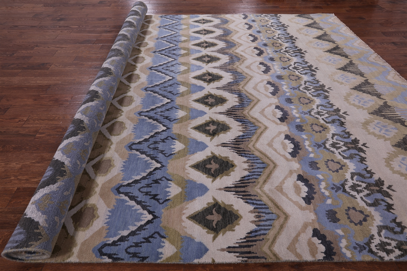Ikat Hand Knotted Wool Rug 10 X 14
