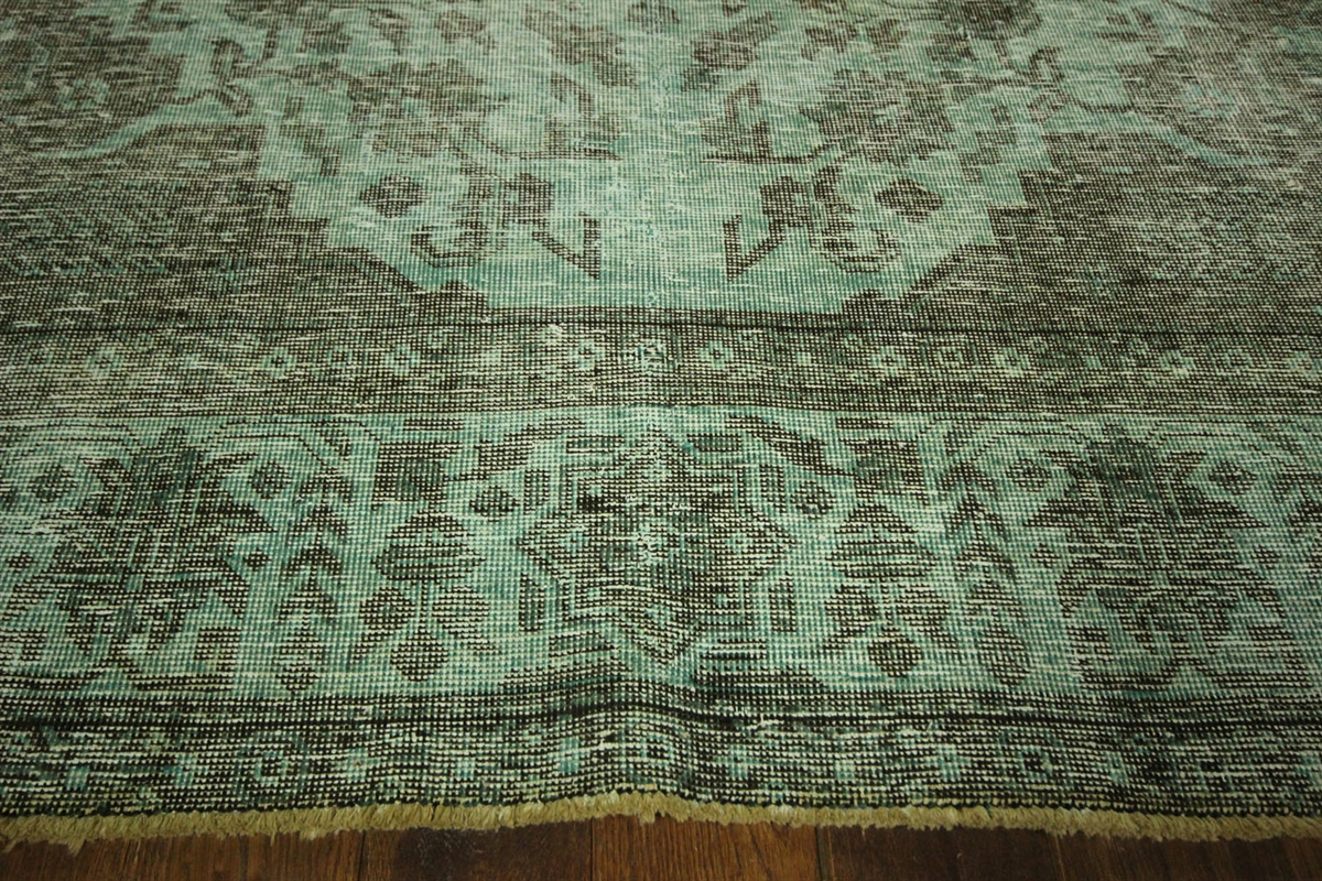 Tabriz Collection Paris Green Overdyed 9u0027x12u0027 Hand Knotted Wool Area Rug  H7310