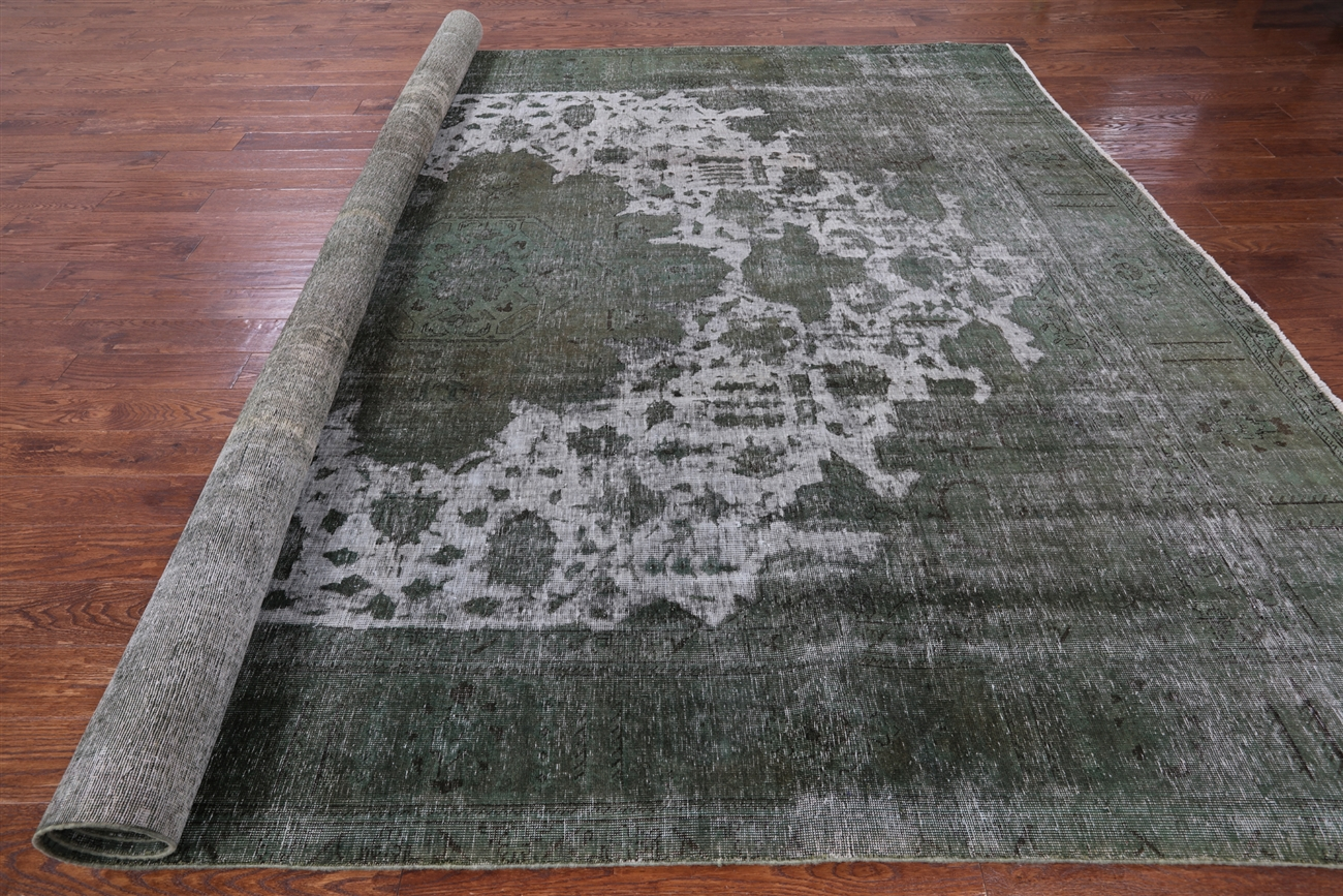 Tabriz Collection Jungle Green Overdyed 10 X14 Hand