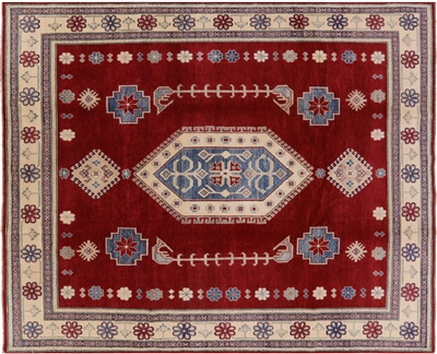 Hand Knotted Red Super Kazak Rug
