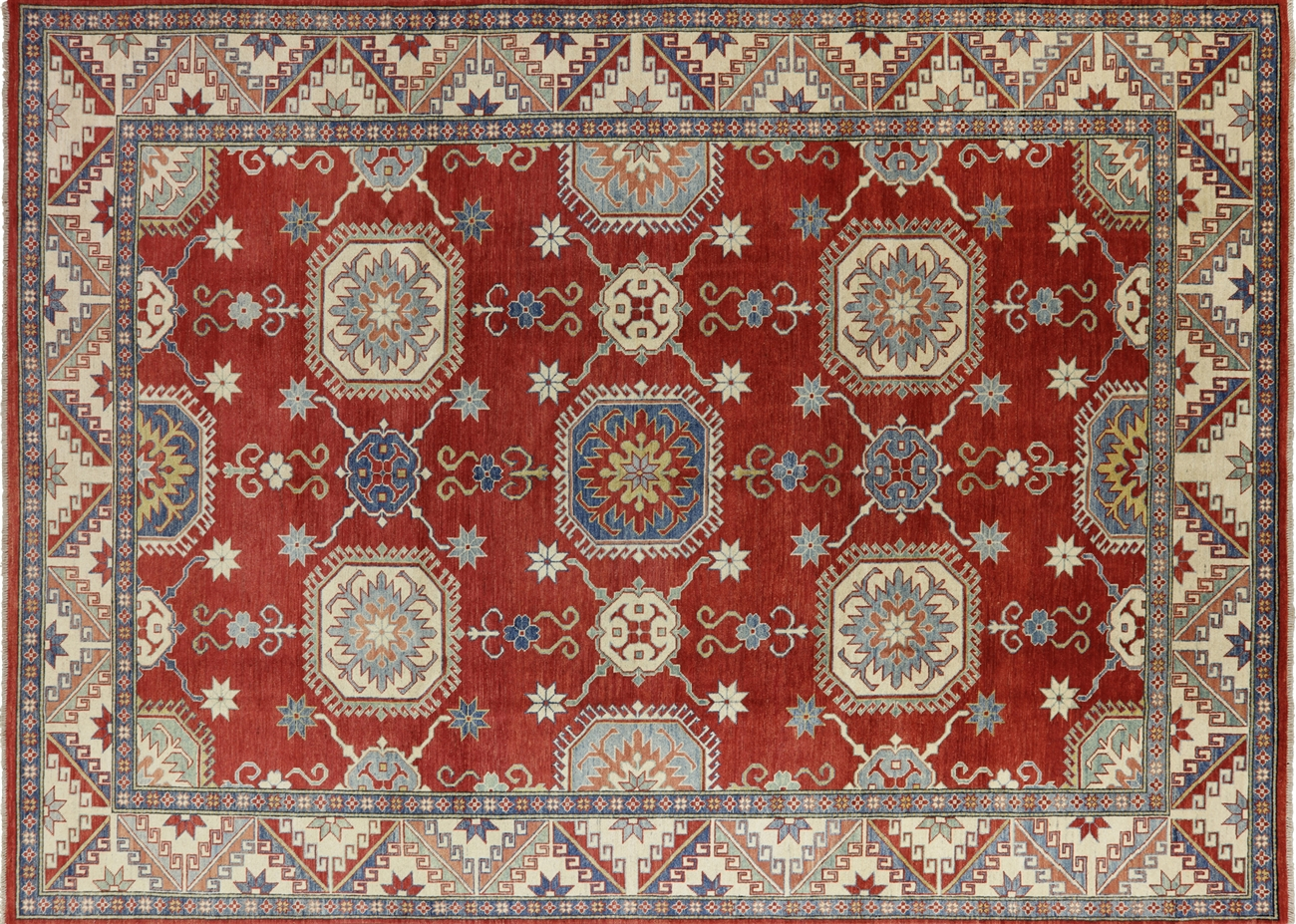 11 X15 Geo Floral Red Pakistani Kazak Hand Knotted Wool Area Rug H7406