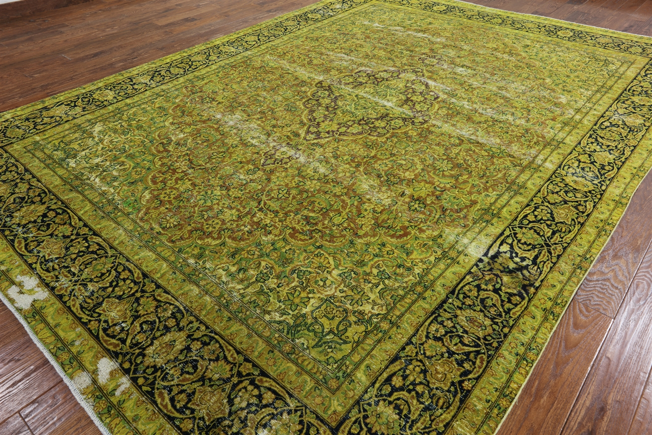 Elegant Fl Acid Green Overdyed 10 X13 Hand Knotted 100 Wool Area Rug H7419