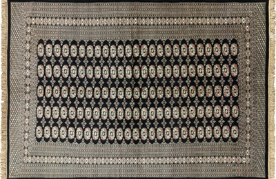 Hand Knotted Black Bokhara Wool Area Rug