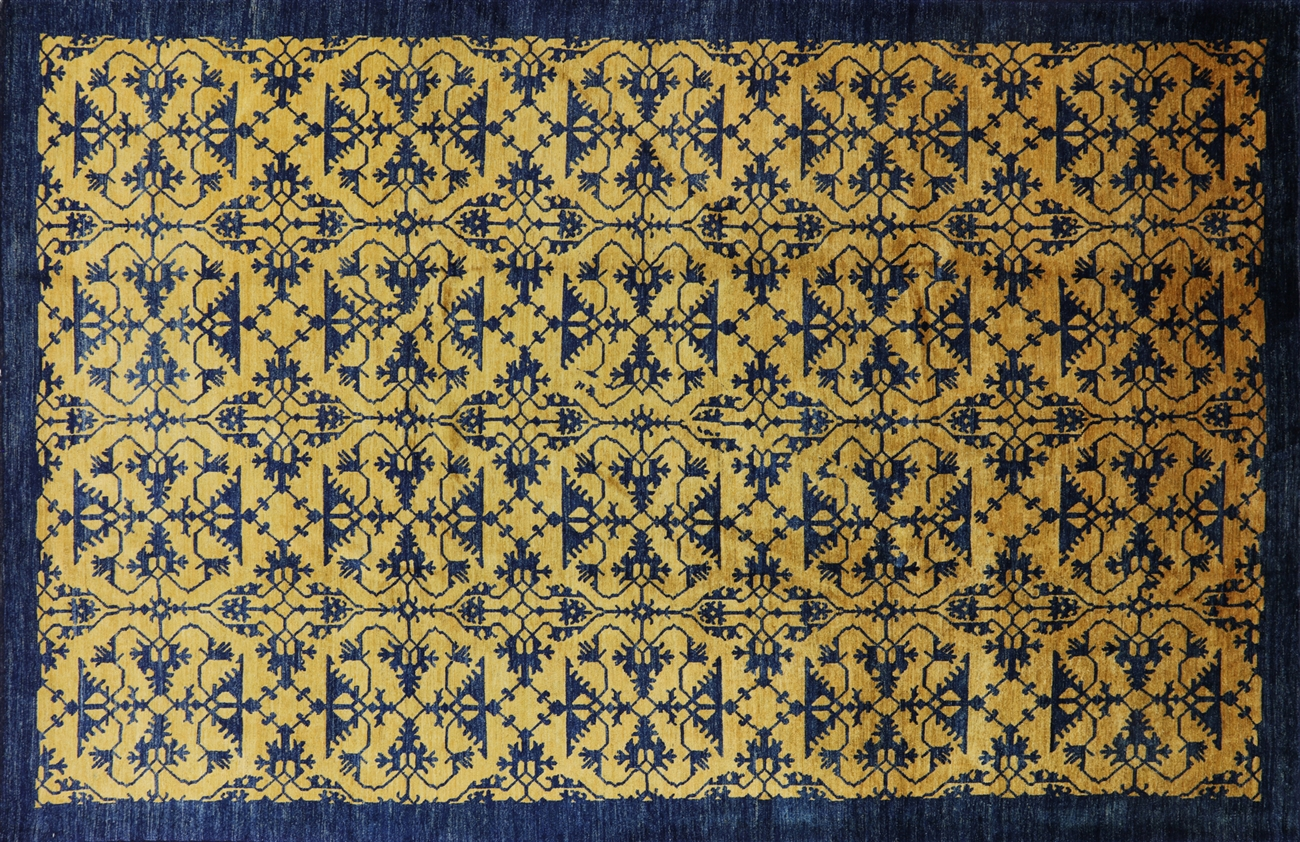 Art Deco Oriental Gold Amp Navy Blue 9 X 13 Area Rug H7538