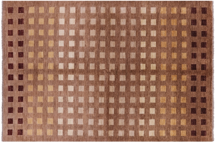 New Super Gabbeh Checkered Design 8 X10 Hand Knotted Wool