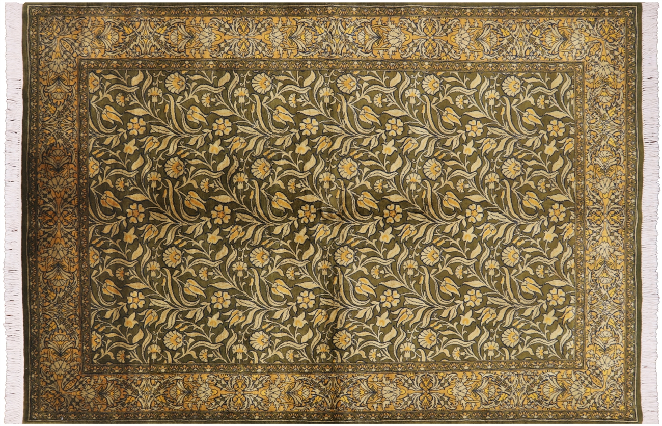 Persian Suzani 6 X 9 Olive Green Hand Knotted Wool Rug H7593