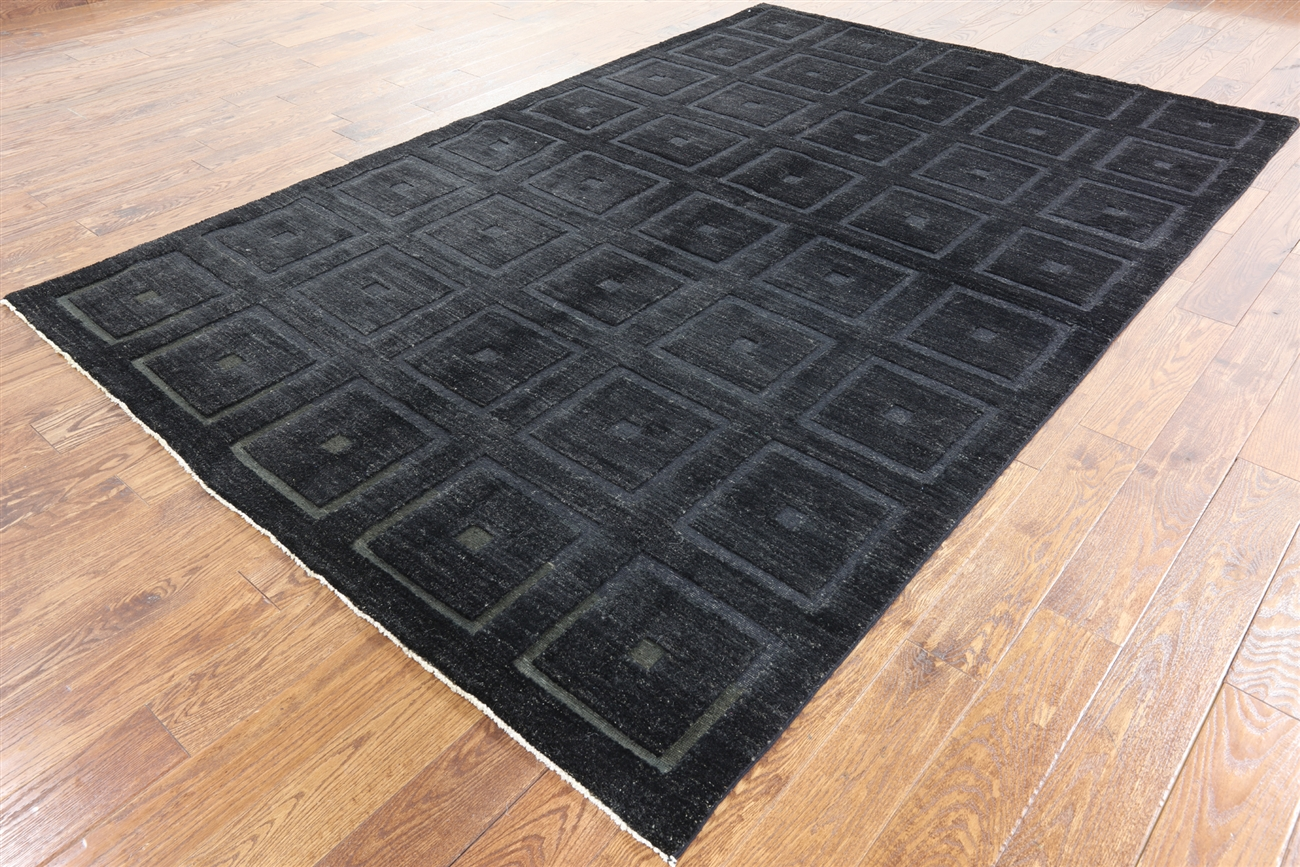 Exclusive 3D Square Design Black 6x10 Gabbeh Hand Knotted Wool Area Rug  H7647