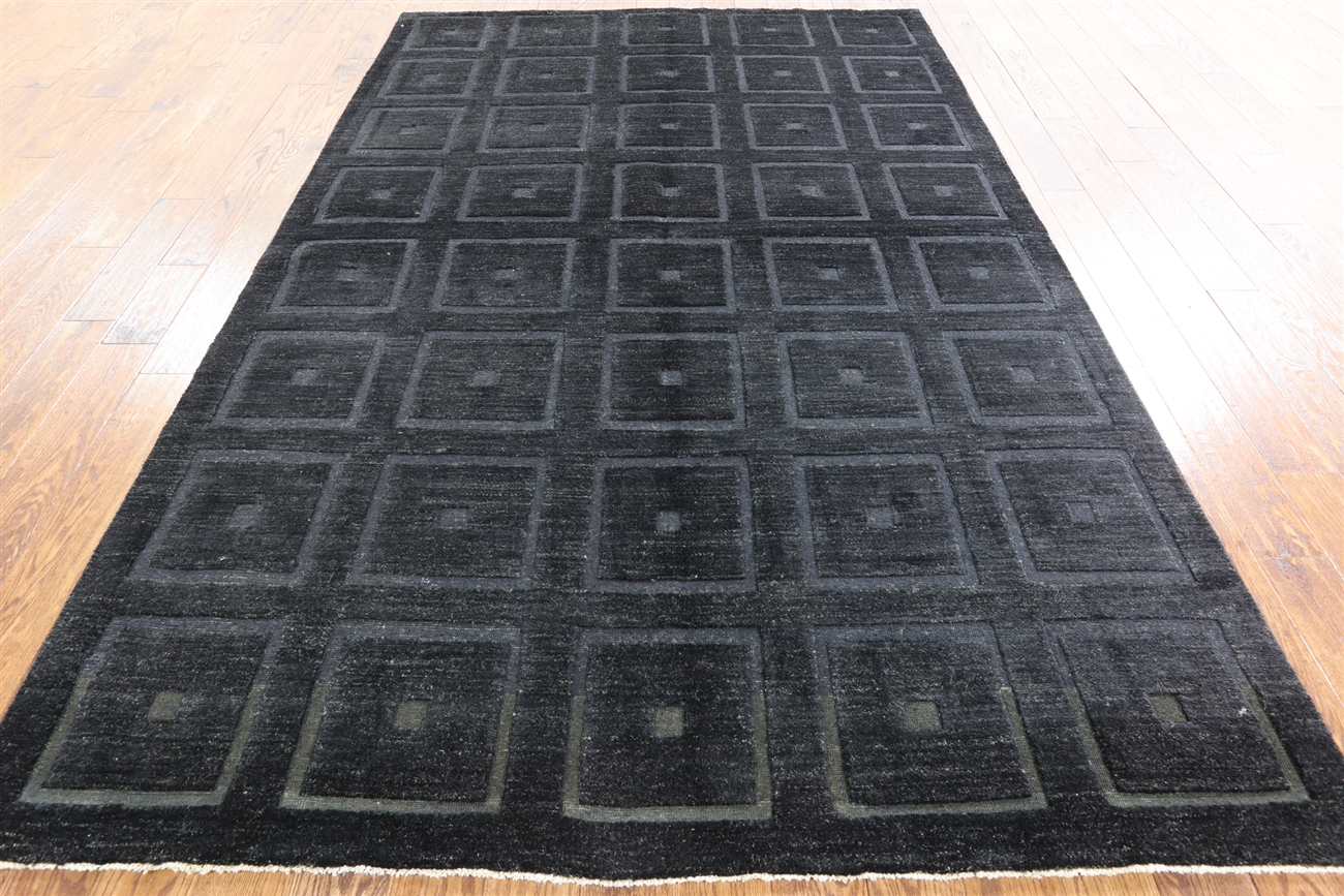 Marvelous Exclusive 3D Square Design Black 6x10 Gabbeh Hand Knotted Wool Area Rug  H7647