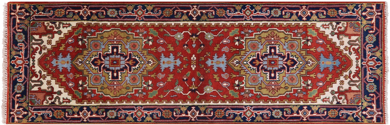 Fine Medallion Design Heriz Red/Navy Blue 3x8 Serapi Hand Knotted Wool Rug  H8025