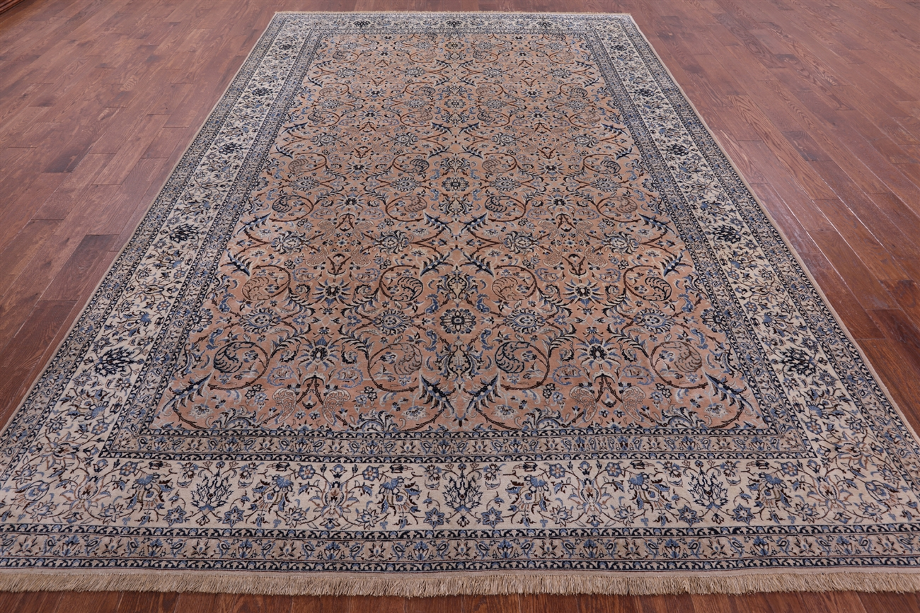 Authentique Persian Nain Camel Brown 8x12 Hand Knotted Wool Silk Rug H8040