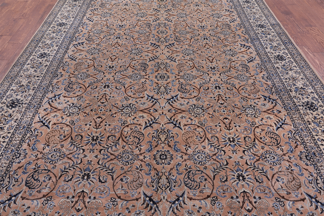 authentique persian nian camel brown 8x12 hand knotted wool/silk