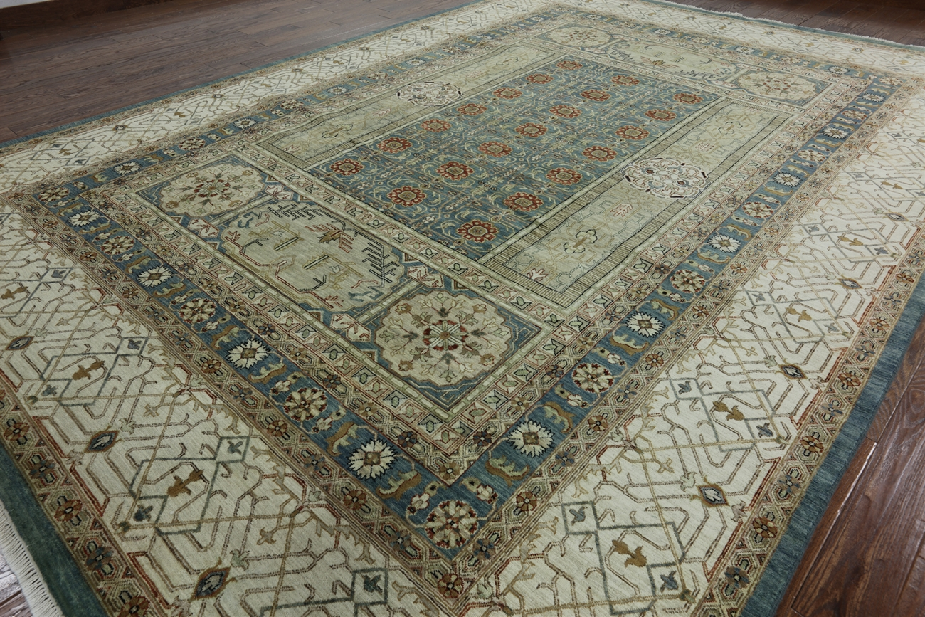 Unique Floral 10 X14 Teal Blue Mamluk Hand Knotted Wool