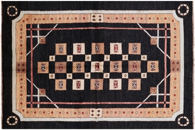 Black Gabbeh Hand Knotted Wool Area Rug